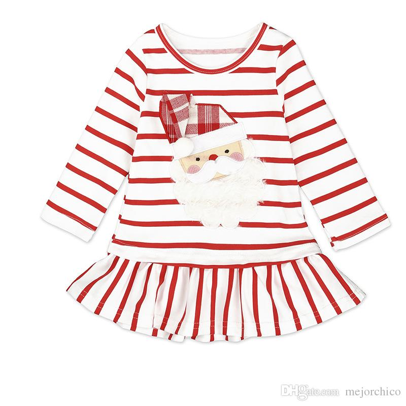 210088db407ae 2019 Kids Tales Christmas Dresses Striped Santa Claus Applique Embroidery  Ruffle Frills 100% Cotton Long Sleeve Baby Girls Kids Dress 9M 5T From  Mejorchico, ...
