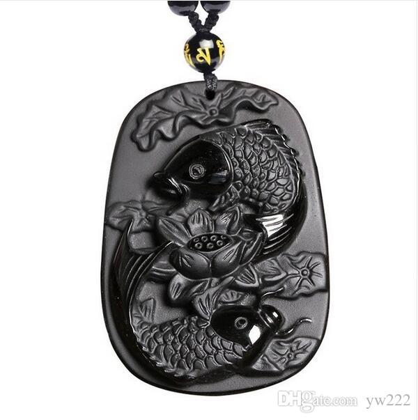 Fine carving Obsidian two fish and lotus black Obsidian pendant men's jewelry