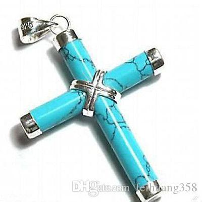 Wholesale Cheap New Prayer Cross Crucifix Turquoise Women Men Pendant Necklace