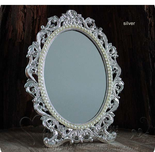 retro desktop makeup cosmetic mirror floral embossed jewelry pearl-inlayed metal frame table decoration silver bronze 337B