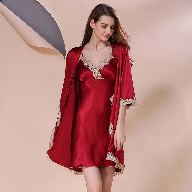 937c6e8ca3 2019 Elegant Women Silk Sleepwear Set Solid Lingerie Satin Bathrobe And Mini  Night Dress Half Sleeve Lounge Set From Flowter