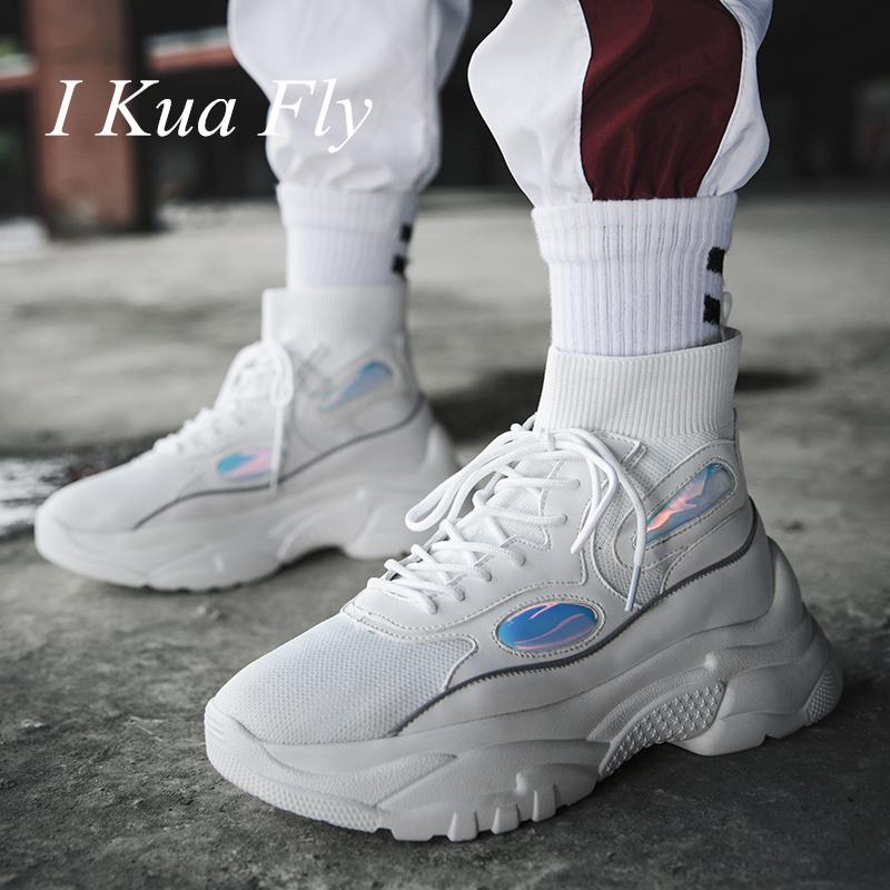 063faa0877d 2019 Men Running Shoes Platform Sneakers Thick Sole Height Increasing 6 CM  Chunky Women Shoes Outdoors Sport Walking Z4 From Ekuanfeng