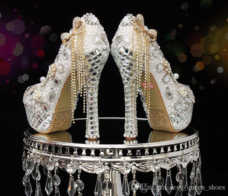 37c2371762 Free Ship 2018 New Bride Wedding Shoes Women High Heels Sexy Rhinestone  Pearls Evening Dress Platform Pumps Bowtie Tassels Single Shoe 14cm
