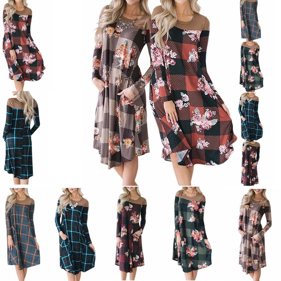 7fe8a5851 Las mujeres de manga larga vestidos sueltos con cuello redondo a cuadros  con flores impresas vestido informal costura fiesta de bolsillo una línea  de ...