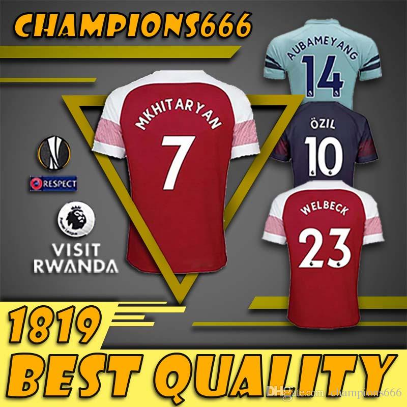 4e16914dc1d 18 19 Arsenal Soccer Jersey Men Women Kids Kits 14 AUBAMEYANG 10 ...