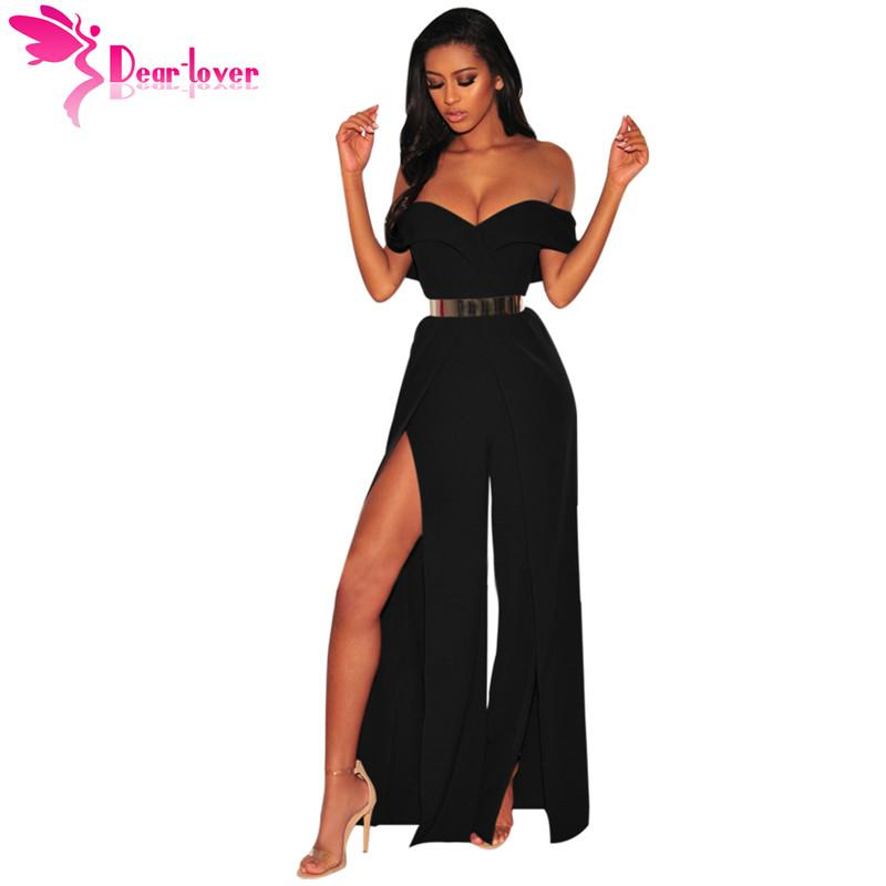 4863720b76 2019 Dear Lover Wide Leg Pants Women Summer Clubwear Sexy Black Faux Wrap  Off Shoulder Long Palazzo Jumpsuit Rompers Overalls LC64365 From  Clothfirst