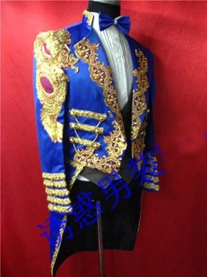 Free shipping mens royal blue golden embroidery swallow tail tuxedo jacket/stage performance/only jacket/can customs size