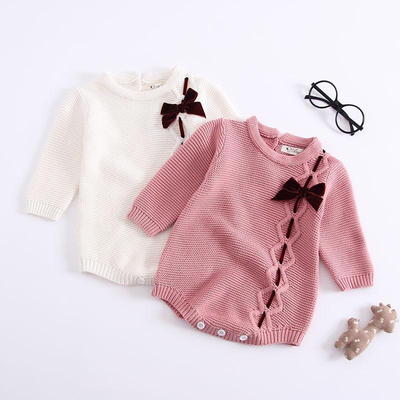 a7032a4f54 Compre 2018 Moda Outono Inverno Crianças Roupas De Malha Do Bebê Roupas De Bebê  Roupas Femininas Bow Macacão Longo Sleeved Romper Crianças De Newyearable