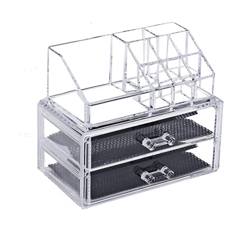 Acrylic transparent 2 Drawers makeup organizer lipstick rack Make Up brush tools holder jewelry storage box nail polish rack