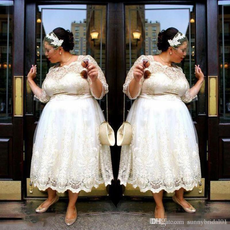 Lace Plus Size Short Wedding Dresses 2018 Tea Length A Line Bridal Gowns Illusion Long Sleeves Women Wedding Vestidos Custom Made Cheap