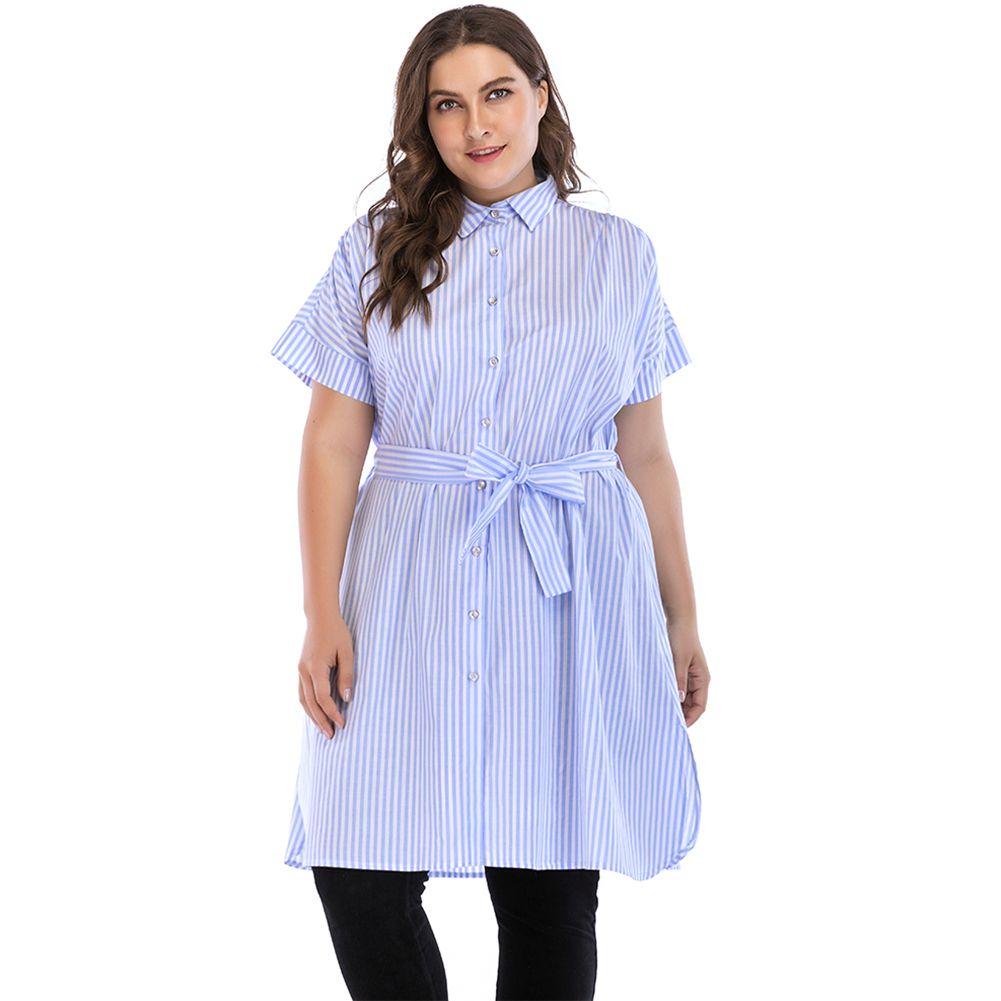 Women 5XL Plus Size Dress Blue Stripe Turn-down Collar Short Sleeve Summer  Shirt Dress Button Self-tie Split Side Loose Dress