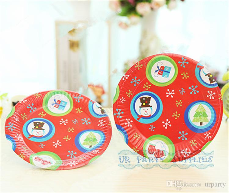 Christmas Paper Plates.Free Shipping 200pcs 18cm Round Christmas Paper Plates High Quality Pretty Party Dessert Picnic Paper Dishes Red Snowman Design