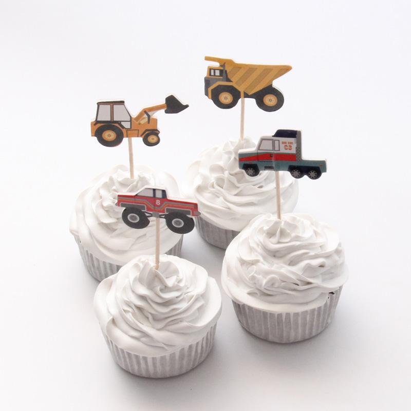 2019 Wholesale City Construction Tool Cart Theme Cartoon Party Supplies Cupcake Topper Kids Boy Birthday Decorations From Likejason 2523