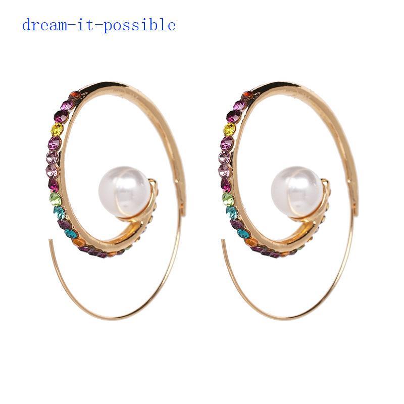 859c629dd6ca6 Dream-it-possible brand crystal colorful rhinestone elegant big statement  charm cheap New Arrival imitation PEARL HOOP EARRINGS