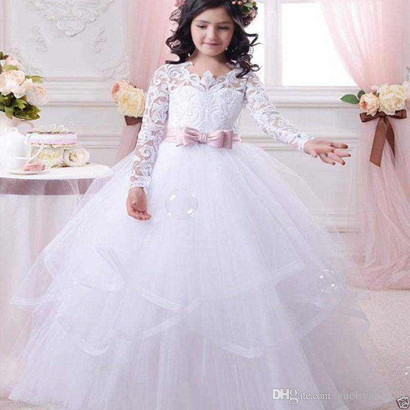2019 Barato Vestidos Da Menina de Flor Branca para Casamentos Lace Long Sleeve Girls Pageant Vestidos Primeira Comunhão Vestido Meninas Prom vestido de Baile