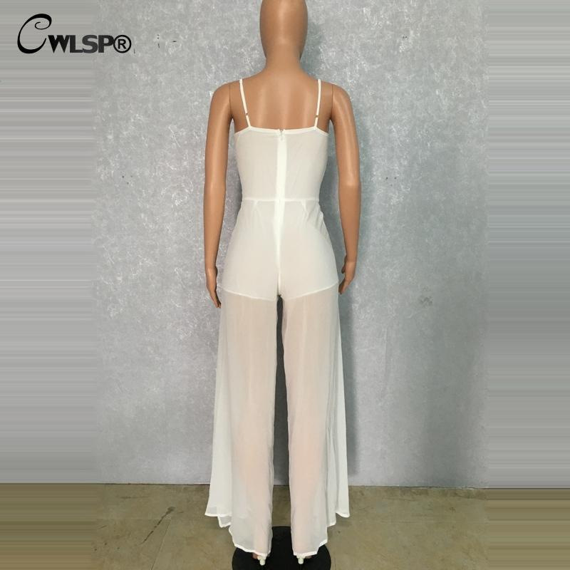 CWLSP 2017 summer Women Jumpsuit fashion Casual Polyester Solid bow bodysuit Hollow Out Split Rompers womens jumpsuit QZ2099