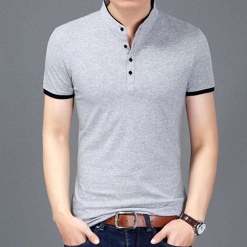 bdfe64f49 2018 Summer New Fashion Brand Clothing Tshirt Men Solid Color Slim Fit  Short Sleeve T Shirt Men Mandarin Collar Casual T Shirts Latest T Shirt  Design T ...