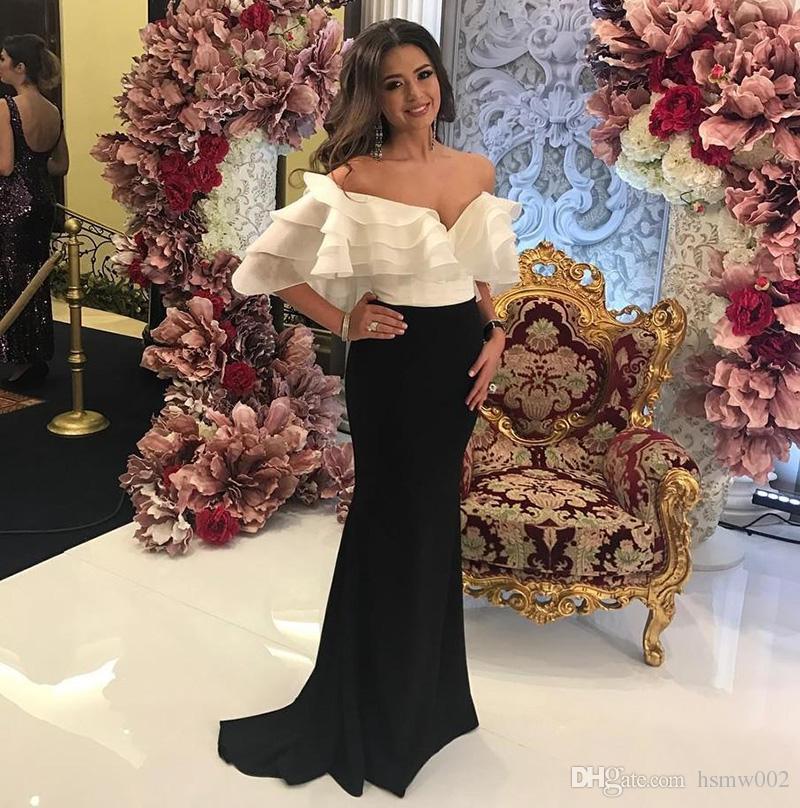 Sexy Hors-épaule col bas sirène robes de bal sans manches blanc et noir balayage train parti porter robes de bal rouge tapis robe de célébrité