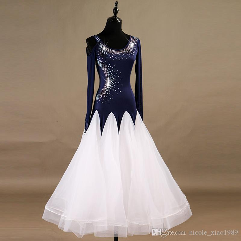 102cea4cc New Adult/Girl Ballroom Dance Dress Modern Waltz Standard Competition Dance  Dress Blue+White Long Sleeve Rhinestone Dress Customized 002