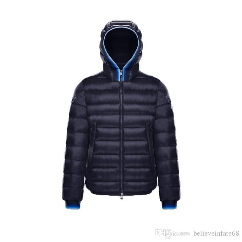 the best attitude 5c8b6 6f15c Kurze Kapuze Reißverschluss warme dicke Daunenjacke 2018 neuen heißen  einfachen Hut abnehmbare Männer Winter Luxus hochwertigen Mantel blau rot