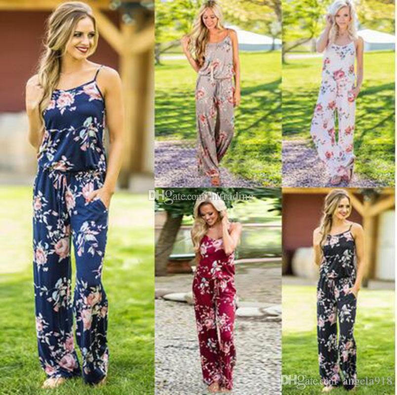 3fd35985f7e 2019 Women Strap Floral Print Romper Jumpsuit Sleeveless Beach Playsuit  Boho 2018 Summer Jumpsuits Long Pants C4229 From Angela918