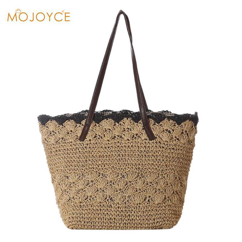 Vintage Summer Women Handbag Weave Straw Beach Shoulder Bag Casual Zipper  Totes Fashion Women S Handbags Knitted Straw Bag 2018 Cheap Designer  Handbags ... fd78bb5231
