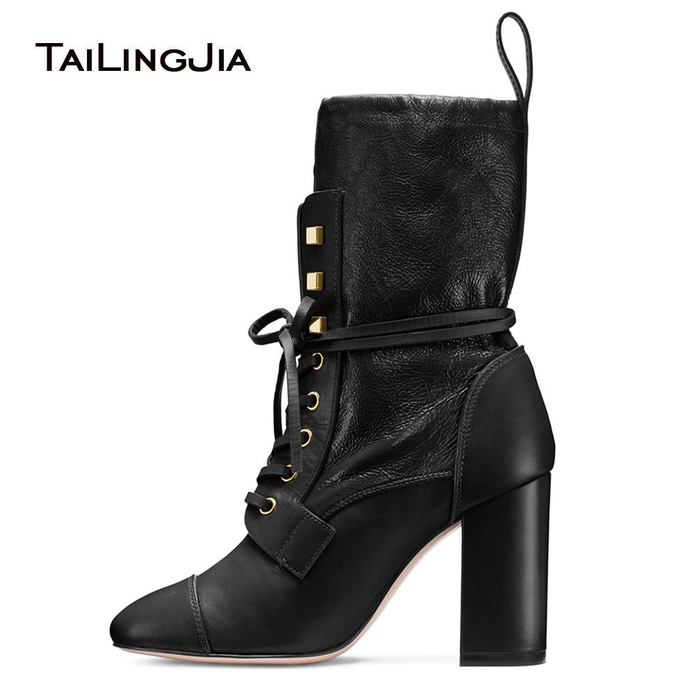 cafac4c41e0 Women Black Round Toe Chunky Heel Sock Boots 2018 Lace Up Mid Calf Boots  Ankle Booties Ladies Autumn Winter Shoes Large Size Boots Shoes Ankle Boots  For ...