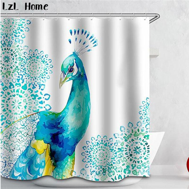 2019 3D Curtains Beautiful Peacock Bird Feathers Shower Curtain Waterproof Fabric Bath For Room 12 C Type Hooks From Caley 5177