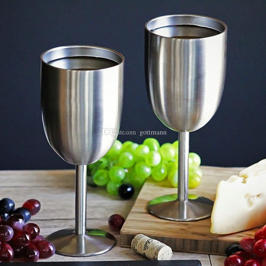 Premium Stainless Steel Double Walled Vacuum Insulated 12 Ounce Stemmed Wine Glass With Sealed Lid for Red or White Wine