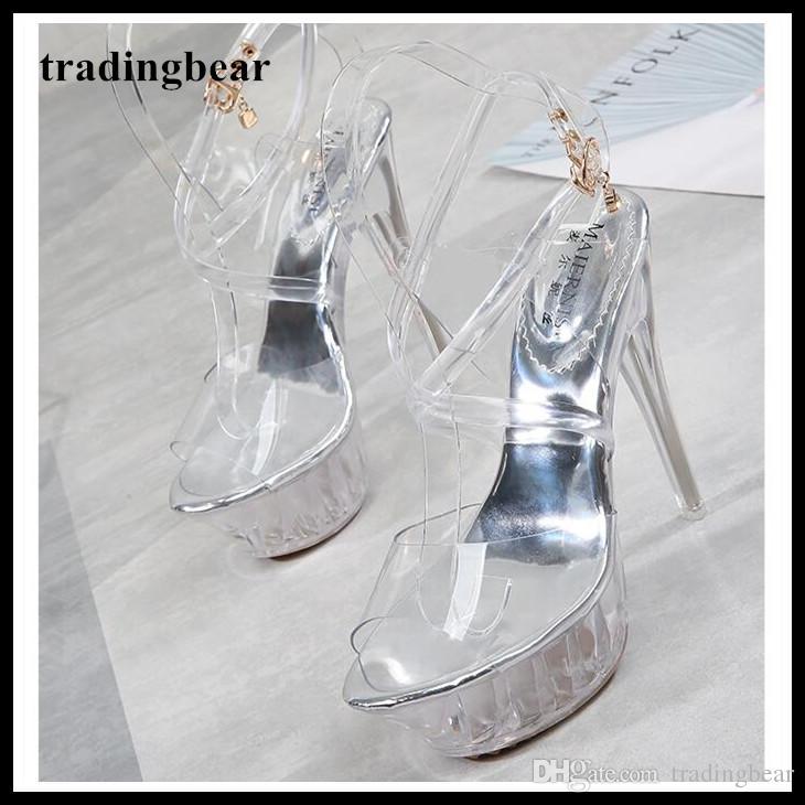 700d62eafb33 Big Size 35 To 40 41 42 43 Silver Transparent Crystal PVC Wedding Shoes  Women Designer High Heels Platform Pumps Pole Dancing Shoes Mens Sandals  Mens ...