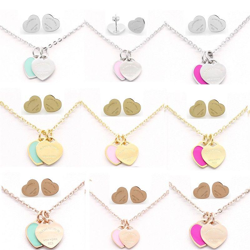 Brincos de Aço Inoxidável Clássico da marca Colar de Jóias Set Amor Coração Inglês Letras Colar Para Mulheres Senhora com Logotipo