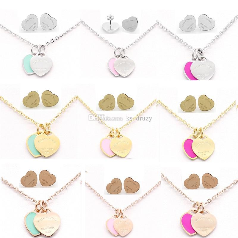 Collana di gioielli in acciaio inossidabile classico di marca insieme di gioielli cuore d'amore collana di lettere d'argento le donne signora con logo