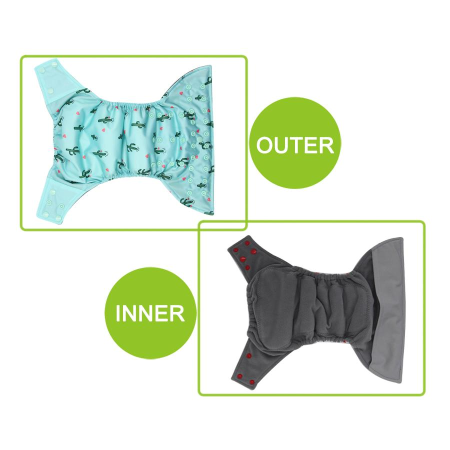 Babmboo Charcoal Inner Waterproof PUL Outer One Size Fits all fit 3-15kg Baby Diapers AIO Cloth Diaper