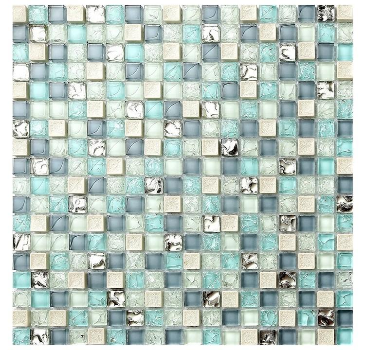 15mm Mediterranean Blue White Ceramic Ice Cracked Crystal Glass Mosaic Tile Bathroom Shower Kitchen Backsplash Club Wall Tile