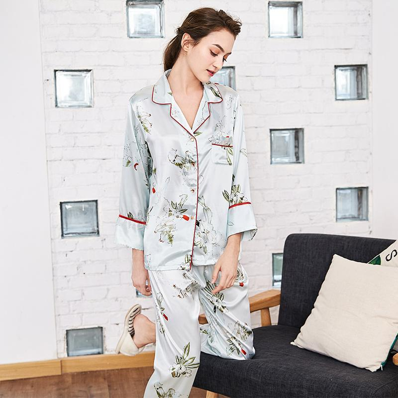 2019 Satin Long Pants Sleepwear Two Piece Pajama Set Print Floral Women  Sexy Tops Silk Nightwear Home Wear Lingerie Summer Autumn From Bowse 35943c00f