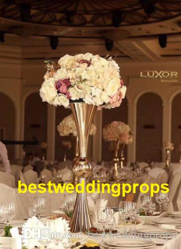 Gold Flower Vase With Big Crystal Ball Wedding Flower Vase Holders Table Centerpieces Candlesticks For Party Decor best0335