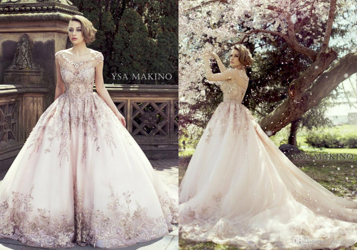 Discount a line pink country wedding dresses sweep train lace