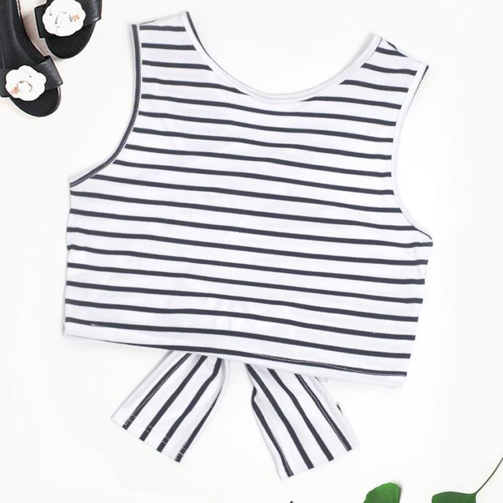 107f46e9322bd 2019 Fashion Women Sleeveless Striped Bow Bandage Casual Vest Tops Blouse  Sexy Strappy Bow Tie Vest From Hoeasy