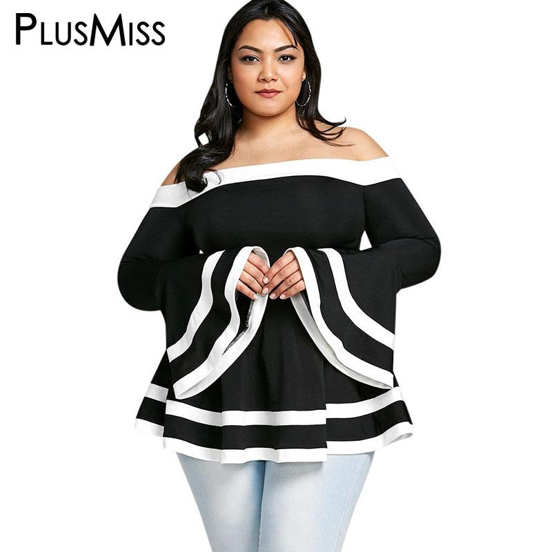 aa2c0bb0aa6fa 2019 PlusMiss Plus Size 5XL Bell Flare Sleeve Sexy Off The Shoulder Tops  Summer 2018 Black And White Peplum Blouse Big Size Blusas From Red2015