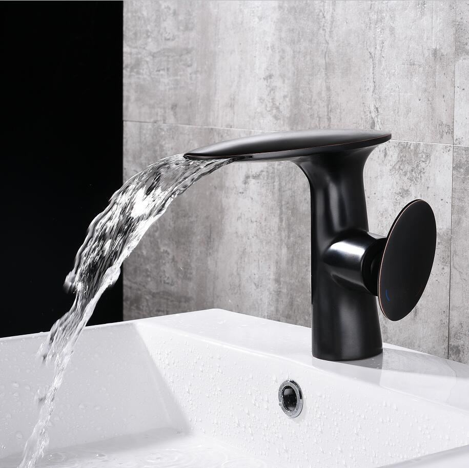 2019 black white basin faucets waterfall faucet bathroom faucet single handle basin mixer tap bath faucet brass sink water crane from prettyxiu