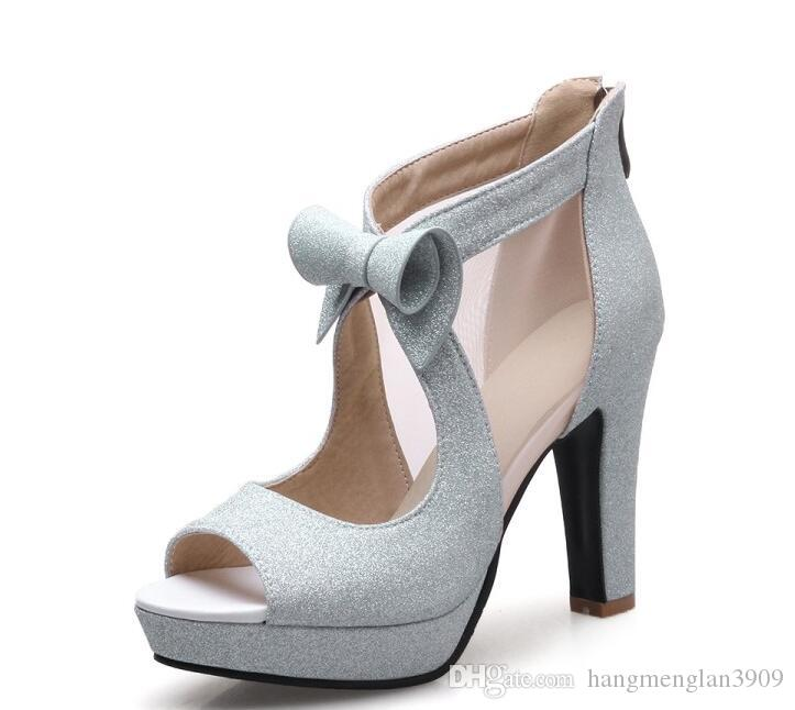 Women Shoes High Heels Platform Shoes Bow Peep Toe Pumps Sexy High Heel Party Shoes Silver Size 34-42 sapatos femininos