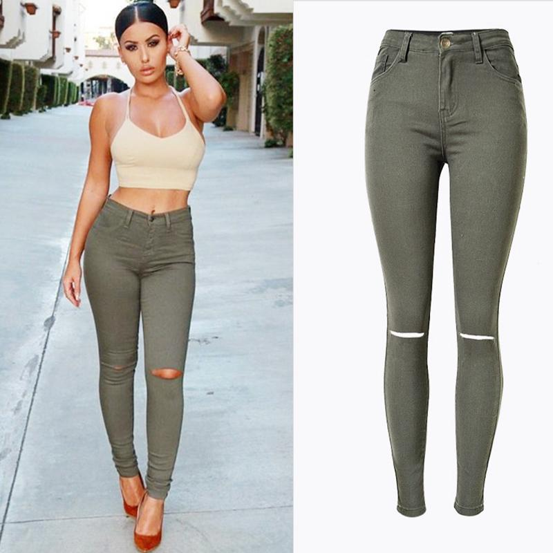 e0c113cfa88 2019 Fashion Street Style Women Skinny Denim Pants Jeans Army Green High  Waist Stretch Jeans Trousers Hot Select Female Denim Pants From Cagney, ...