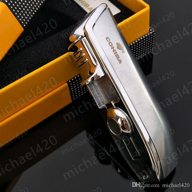 Luxury fashion brand new quality COHIBA yellow metal 3 torch JET flame cigar cigarette lighter with punch