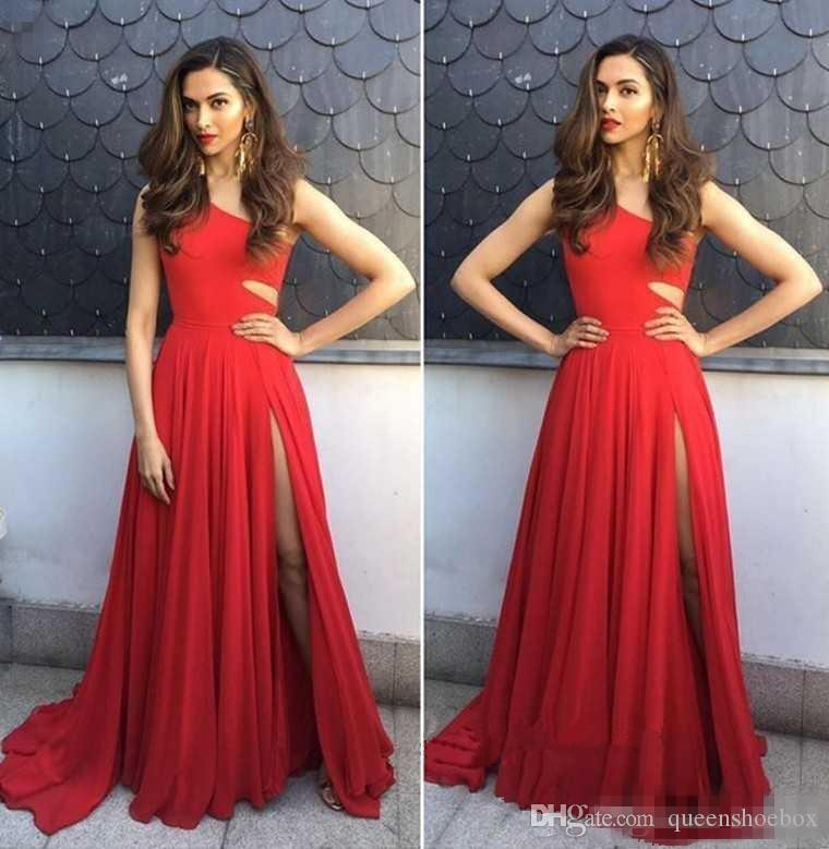 2018 Red Chiffon A Line Prom Dresses Long One Shoulder Side Split Floor Length Formal Evening Party Dress Vestidos Gowns Cheap