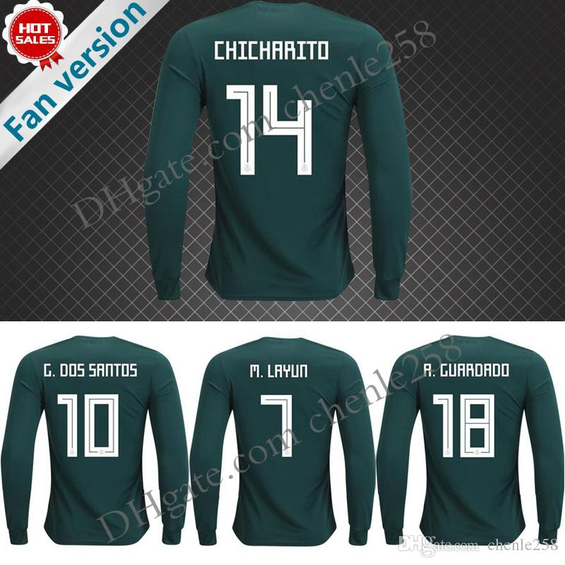 461d48990 2018 mexico long sleeve soccer jersey 2018 world cup home chicharito chucky  lozano dos santos herrera