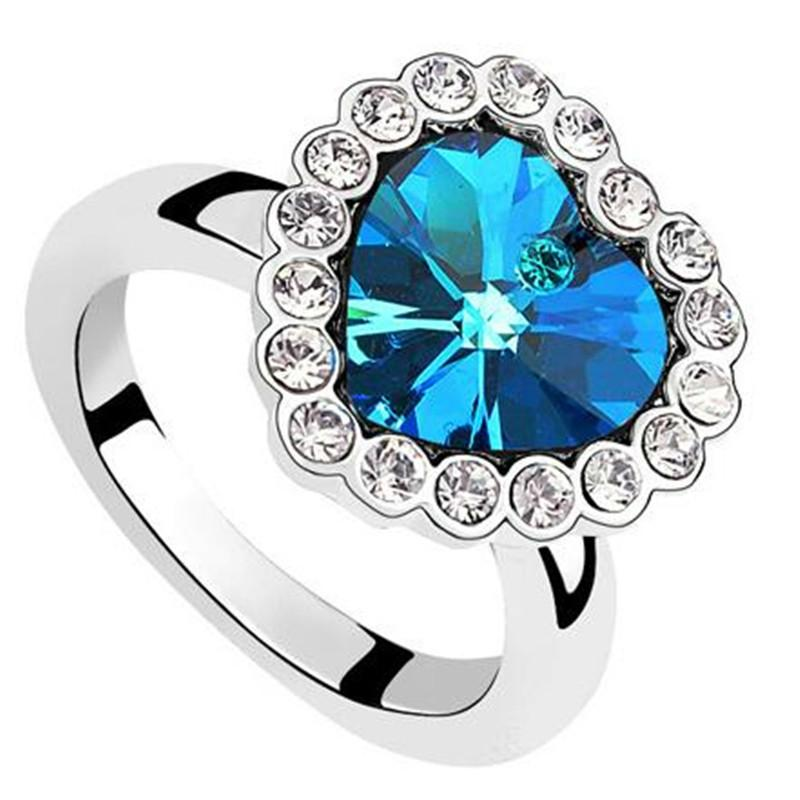 0747c858b6034 Blue Crystal from Swarovski Heart Rings Engagement Fashion Jewelry For  Women High Quality Finger White Gold Plated 6476