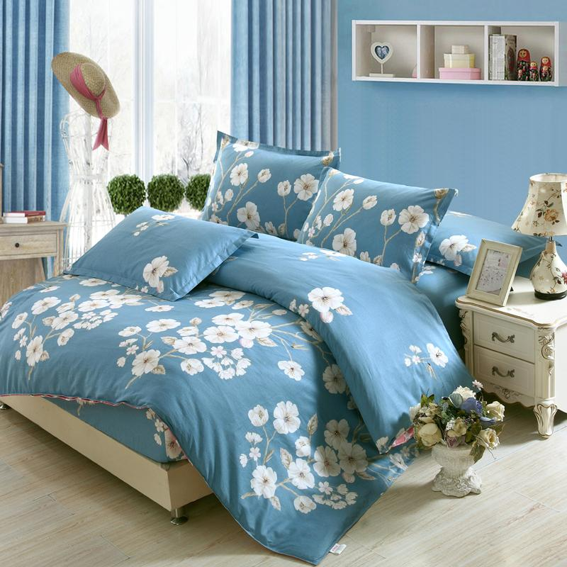 Blue white flower 3d cotton bedding set of duvet cover set bed blue white flower 3d cotton bedding set of duvet cover set bed fitted sheet pillowcase bed clothes queen king full twin size white comforter set queen mightylinksfo
