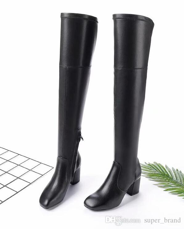 Style Women Glossy Over Knee Boots Genuine Leather Low Heel Party Shoes  Women Size 35 41 Fashion Black Zip Boots Waterproof Boots Western Boots  From ... fa99a63516