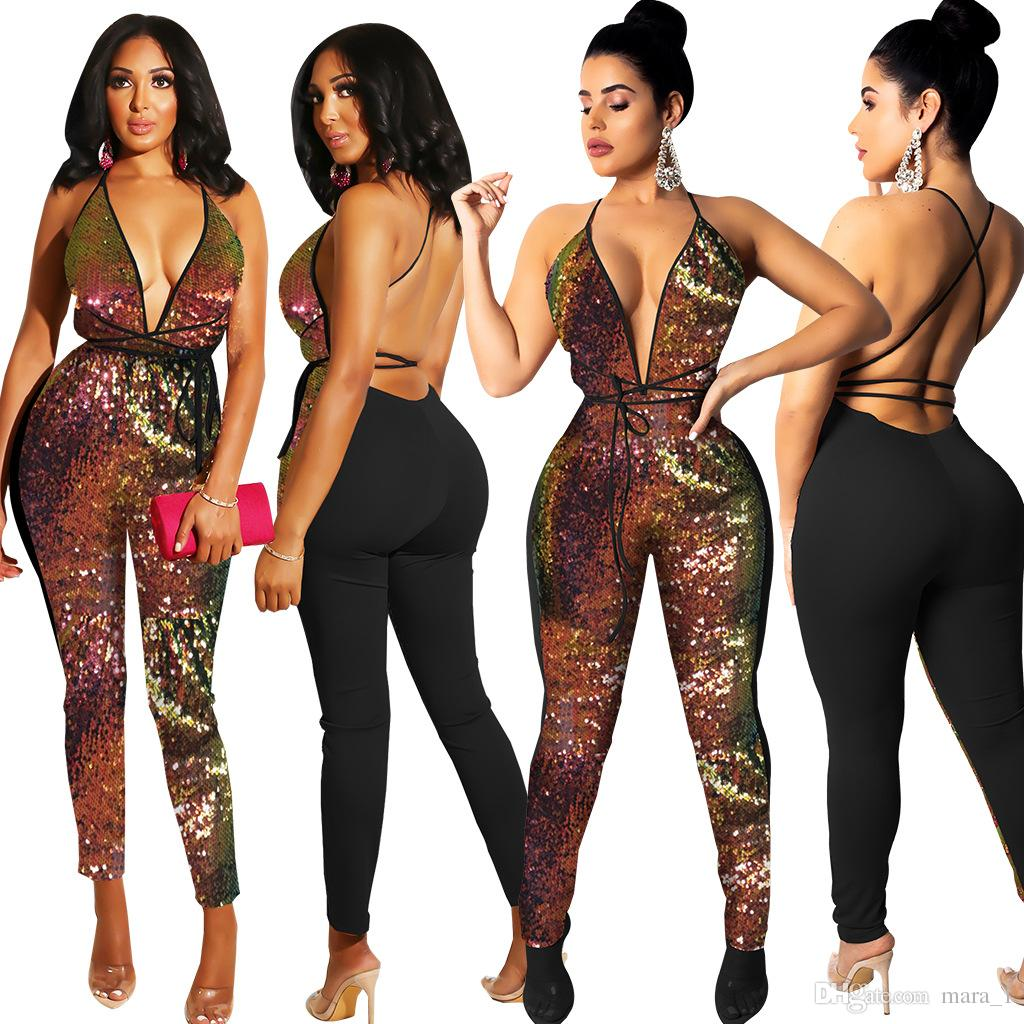 442e3277bbb4 2019 Women Club Sequins Jumpsuit Rompers Deep V Neck Sexy Party Jumpsuits  Backless Halter Jumpsuit Sleeveless Lady Night Club Clothes Cheap From  Mara 1