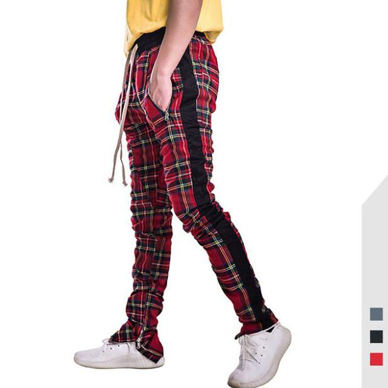 0202c4540874d2 Acquista Moda Uomo Pantaloni Harem Scozzese Plaid Side Zipper Pista Da  Jogging Pantaloni Dritti Mens Hip Hop Hit Color Block Patchwork Streetwear  A $54.12 ...